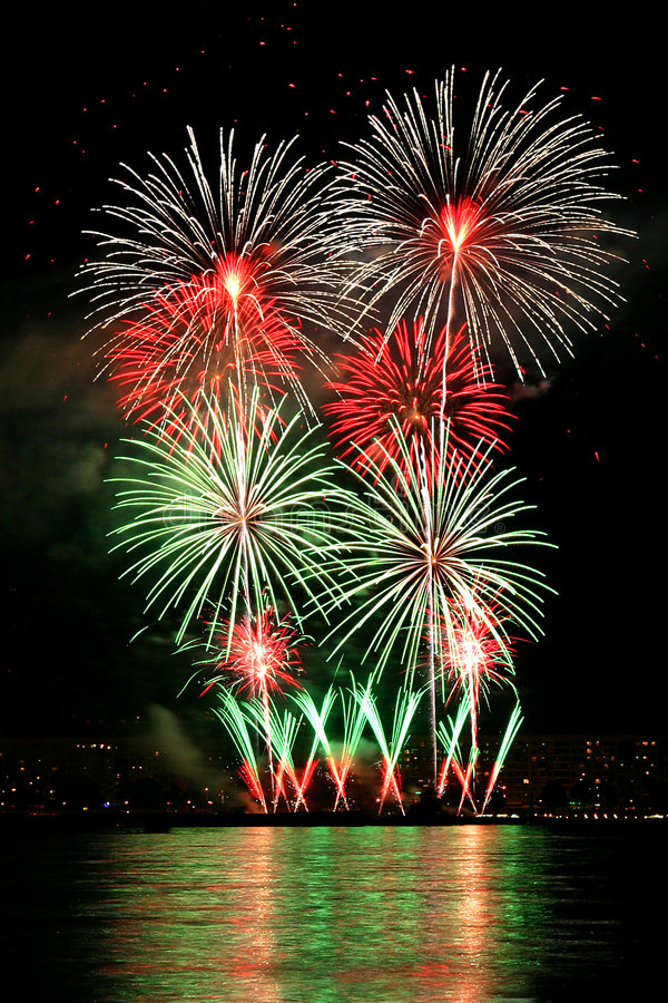 Fireworks 7. Celebration fireworks The Day of the city Flowers in the night sky rainbow stock images