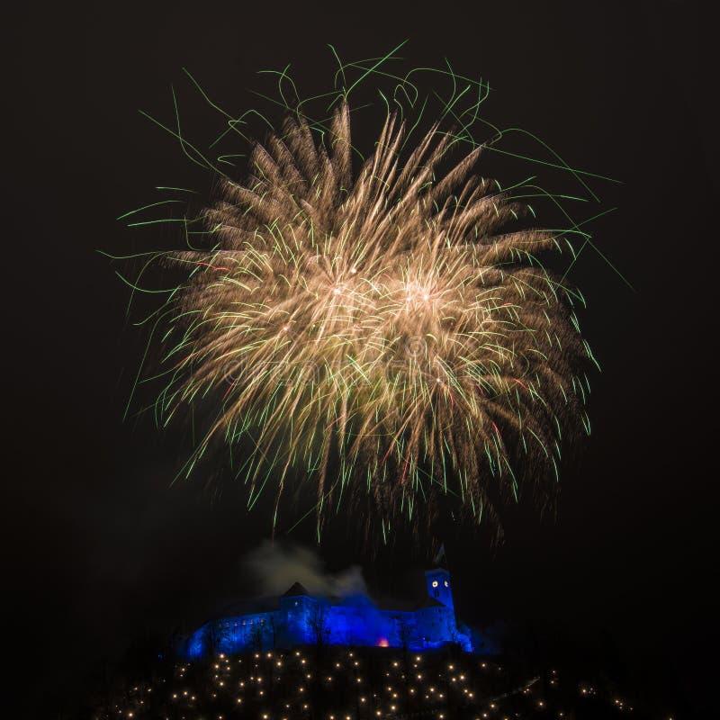 Fireworks above the castle in Ljubljana, Slovenia 2018 stock photos