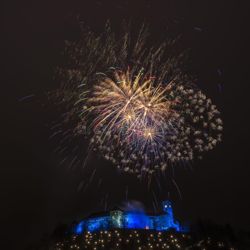 Fireworks above the castle in Ljubljana, Slovenia 2018 stock images