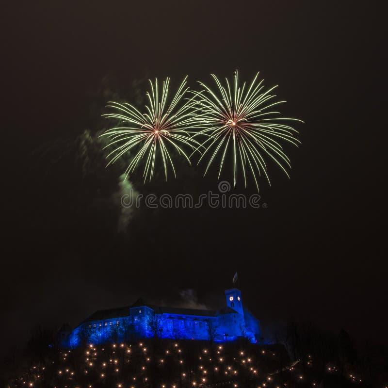 Fireworks above the castle in Ljubljana, Slovenia 2018 stock photography