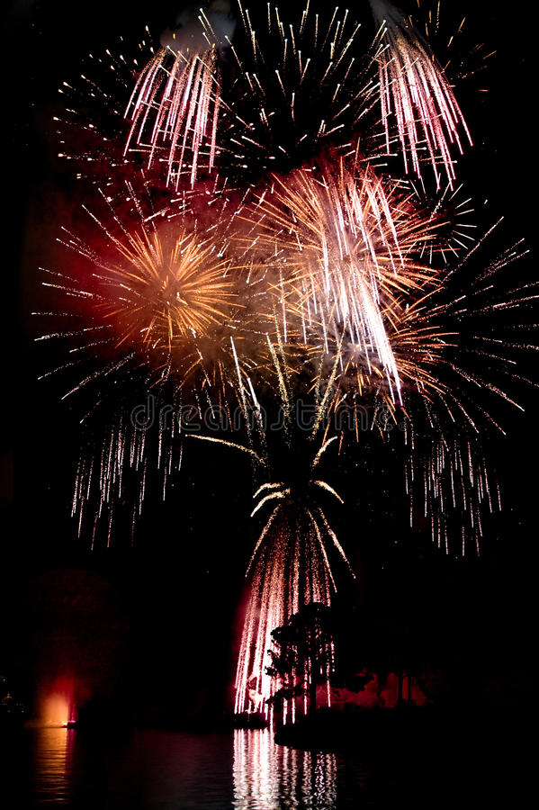 Fireworks above a lake royalty free stock image