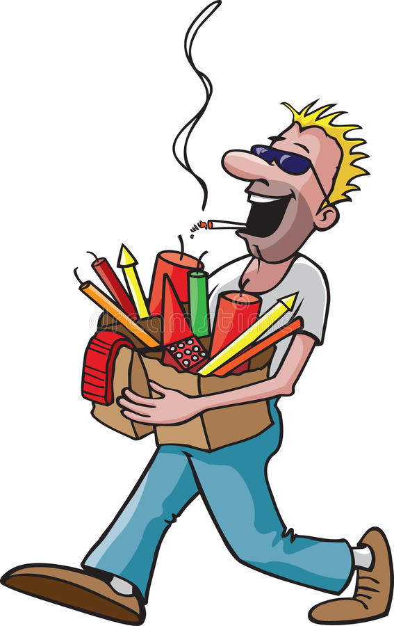 Fireworks accident. A cartoon guy carrying a couple of bags of fireworks while smoking a cigarette. This would be a great safety illustration on company news royalty free illustration