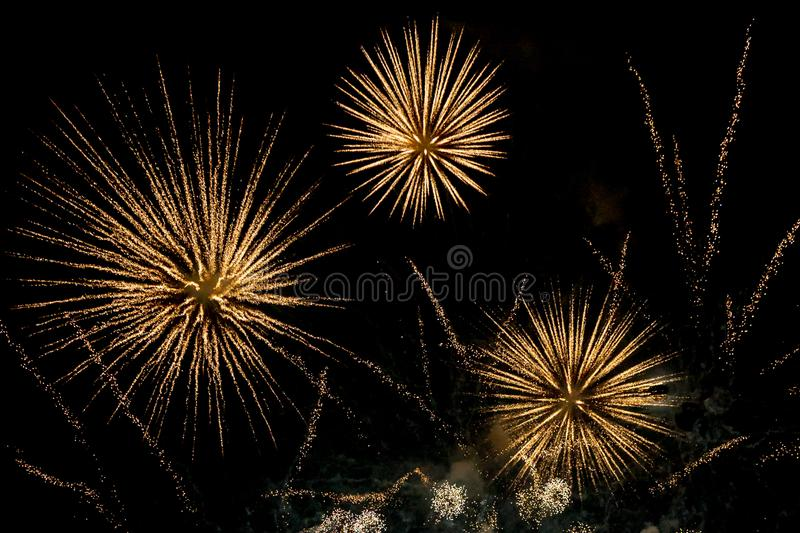 Fireworks against the Night Sky stock photo