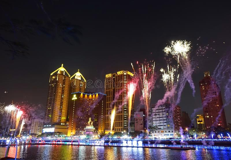 Fireworks Along the Love River in Taiwan stock images