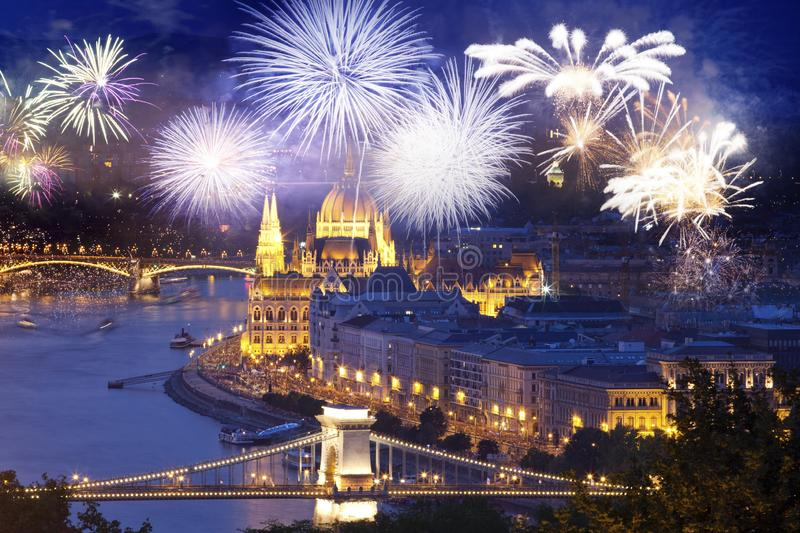 Fireworks around Hungarian parliament- New Year destination, Budapest stock photo