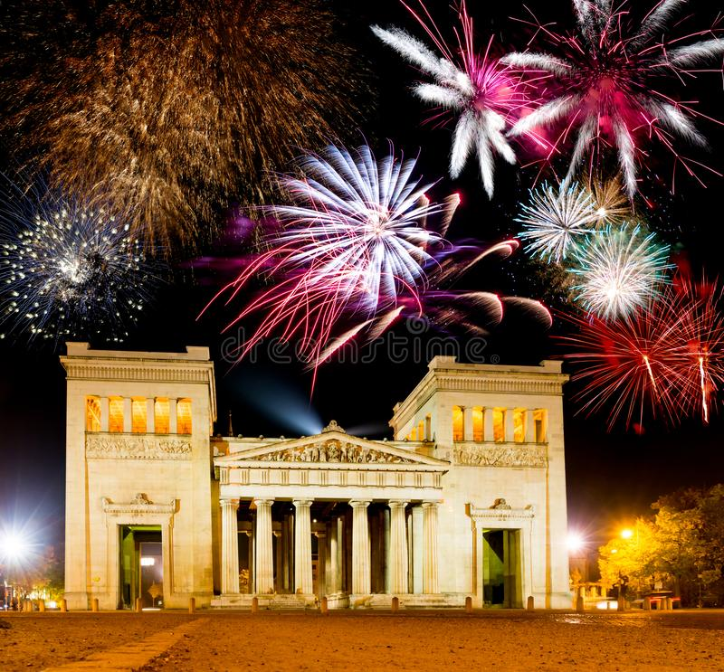 Free Fireworks At The Illuminated Propylaea In Munich Royalty Free Stock Image - 136717786