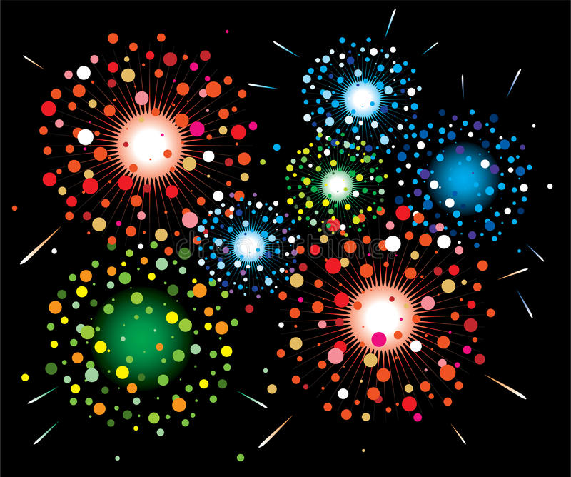 Fireworks background. Vector fireworks background of easily rearranged elements royalty free illustration
