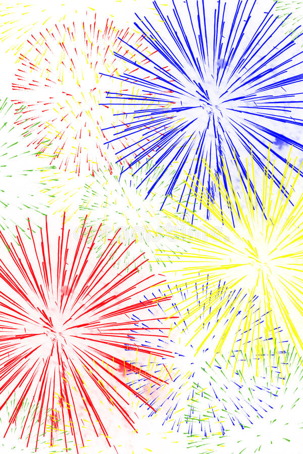 Fireworks Background. Red, yellow, green and blue fireworks on white blackground vector illustration