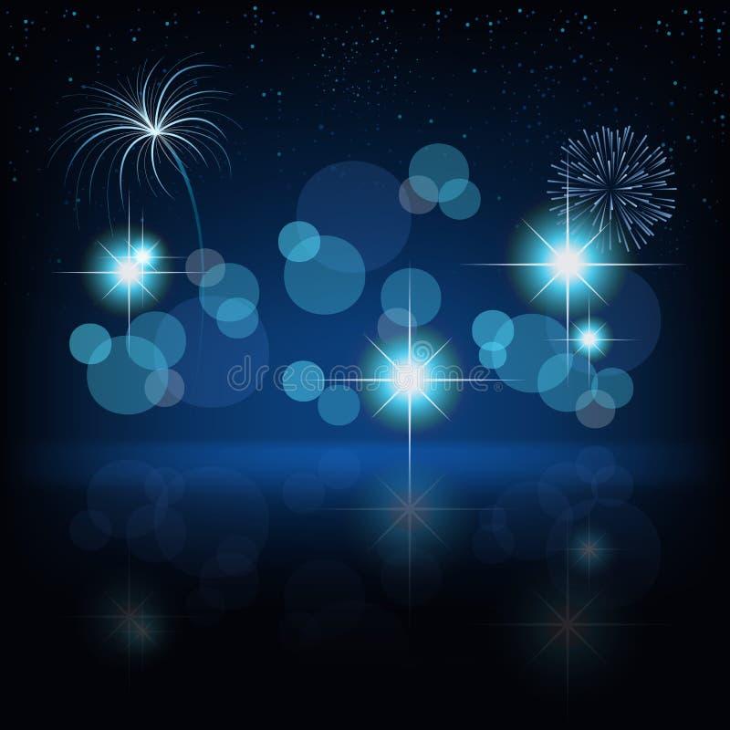 Fireworks Background. Blue Illustration, Vector royalty free illustration