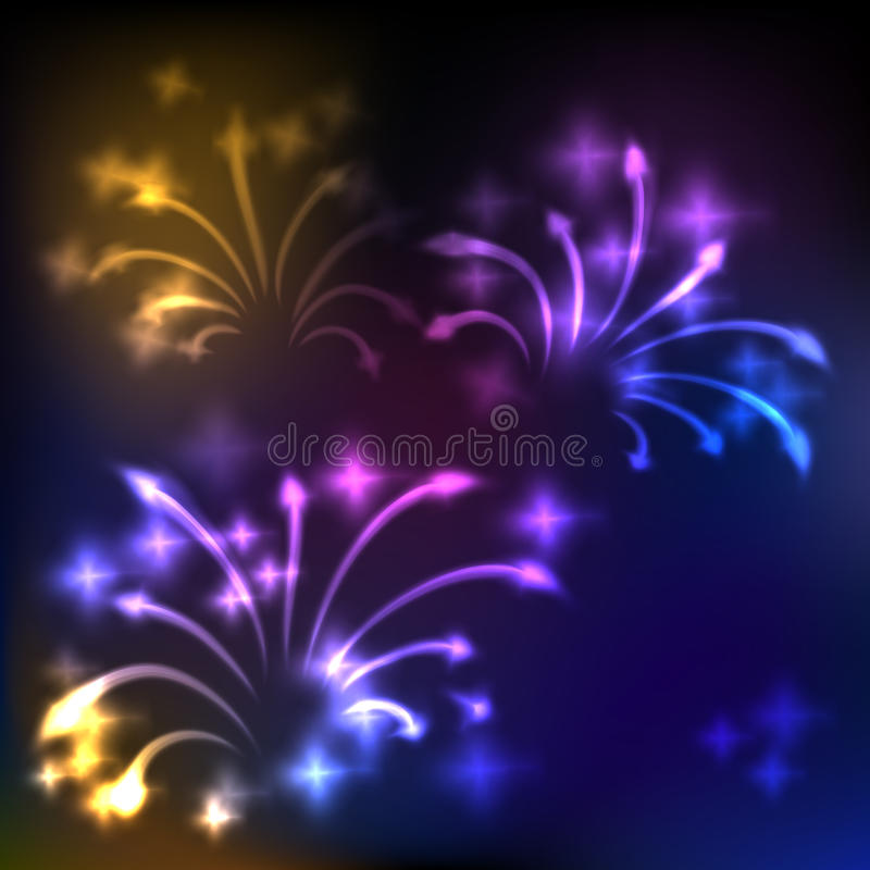 Fireworks background. Colorful fireworks, abstract holiday background stock illustration