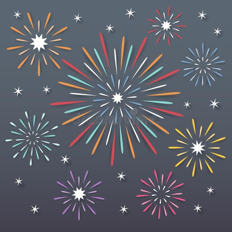 Fireworks background. Colorful paper exploding fireworks on dark night background stock illustration