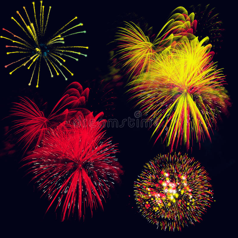 Fireworks. Background with exploding colorful lights on black royalty free illustration