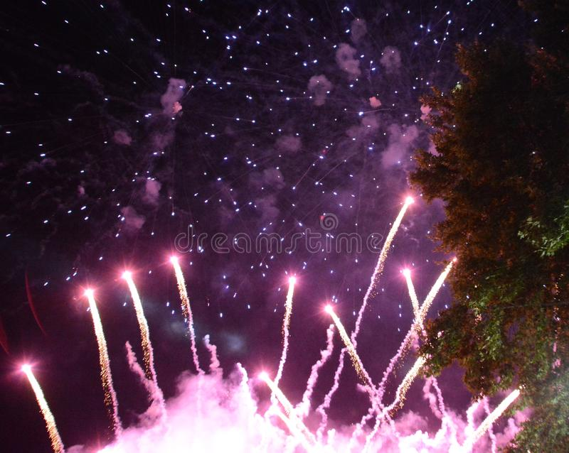 Fireworks background, Festival anniversary, New Year Christmas salute show royalty free stock photo