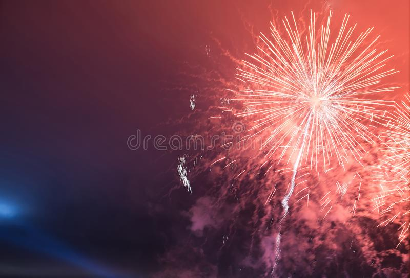 Fireworks background, Festival anniversary, New Year Christmas show. Bright celebrate royalty free stock images