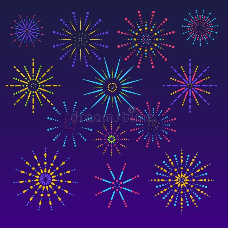 Fireworks background in flat style. Celebration design for holidays. Winner banner, festival decorations. Vector illustration.  stock illustration
