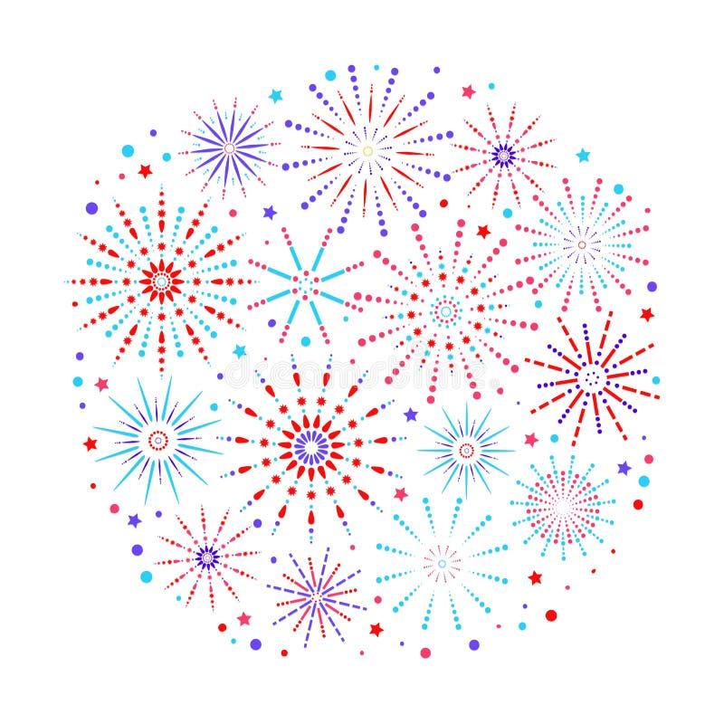 Fireworks background in flat style isolated on white background. Celebration design for holidays. Winner banner, festival stock illustration