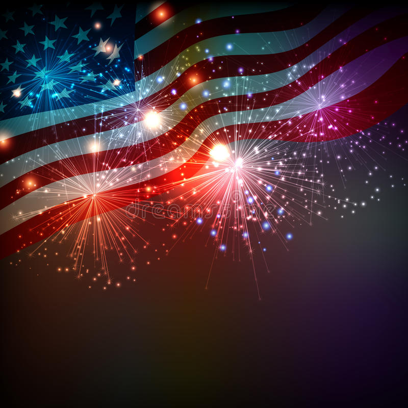 Fireworks background for 4th of July. Independense Day vector illustration