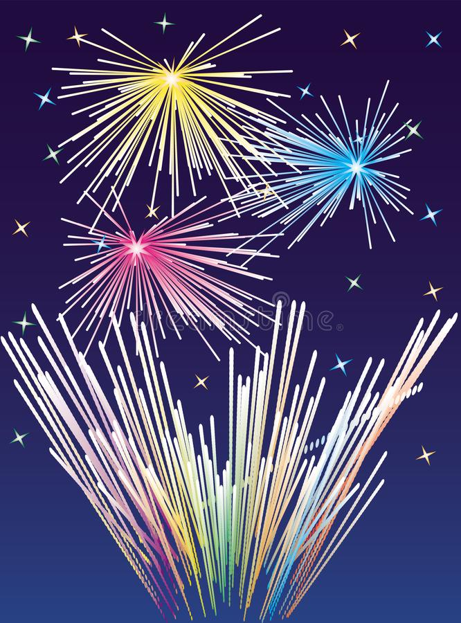 Fireworks background. Vector colored New Year or Christmas rockets stock illustration