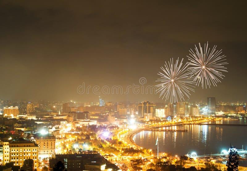 Fireworks in Baku. Fireworks at night in Baku, Azerbaijan stock image