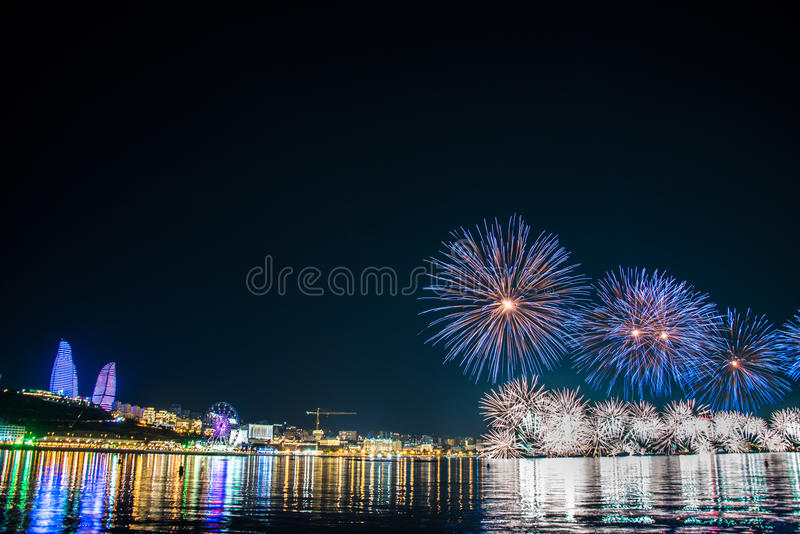 Fireworks in Baku Azerbaijan stock images