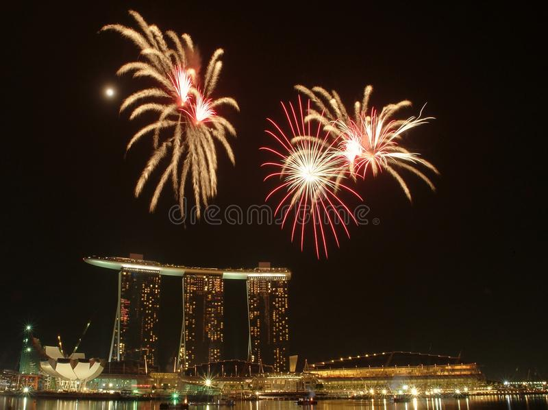 Fireworks by the bay. Fireworks by the Marina Bay in Singapore stock photography