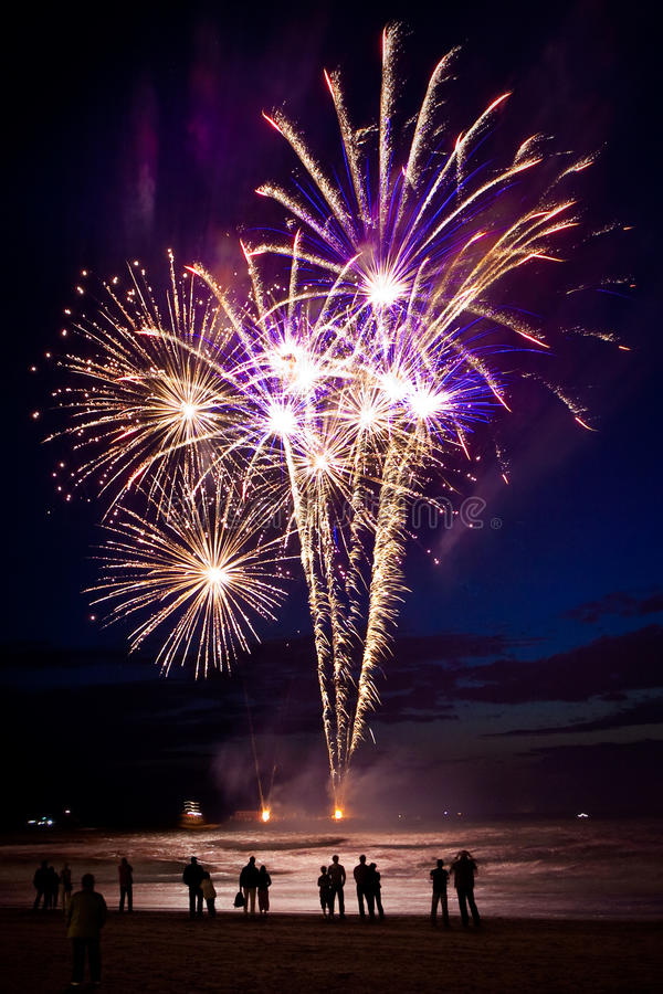 Download Fireworks on the beach stock photo. Image of people, festival - 10648040