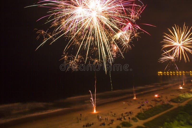 Fireworks On Beach stock image