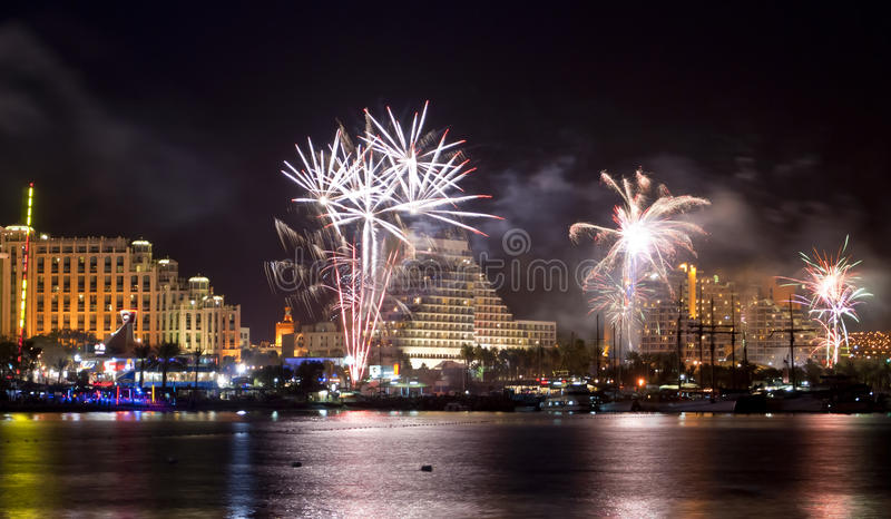 Fireworks on the beach of Eilat city, Israel. During holidays and celebrations there are always beautiful fireworks on the main promende of Eilat city in Israel stock images