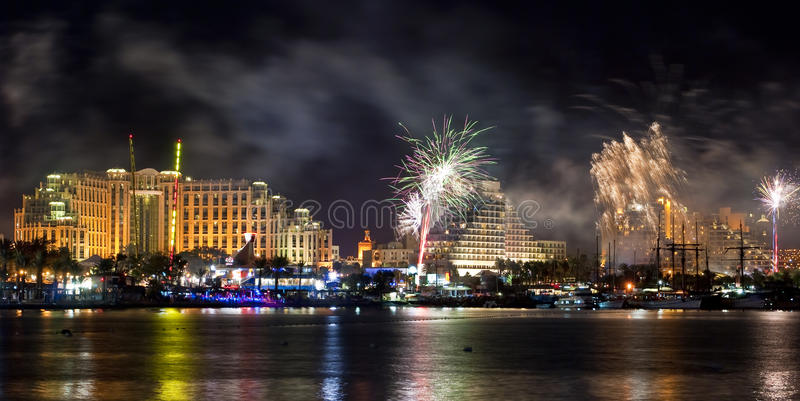 Fireworks on the beach of Eilat city, Israel. During holidays and celebrations there are always beautiful fireworks on the main promende of Eilat city in Israel royalty free stock image
