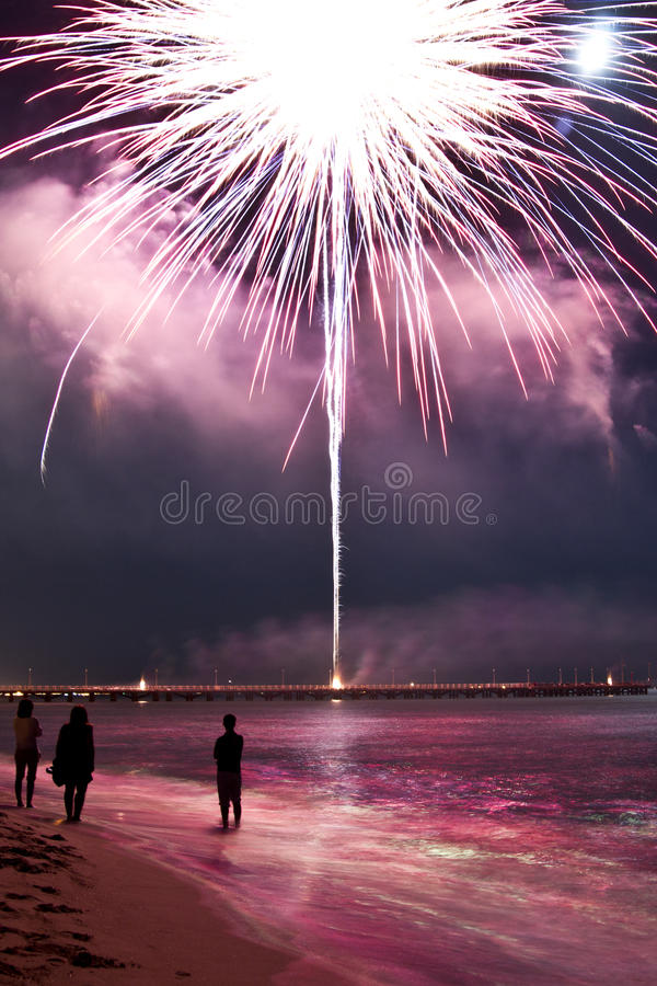 Fireworks beach of Forte dei Marmi Italy. The feast of the end of summer stock photos