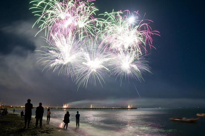 Fireworks beach of Forte dei Marmi Italy. The feast of the end of summer royalty free stock photo