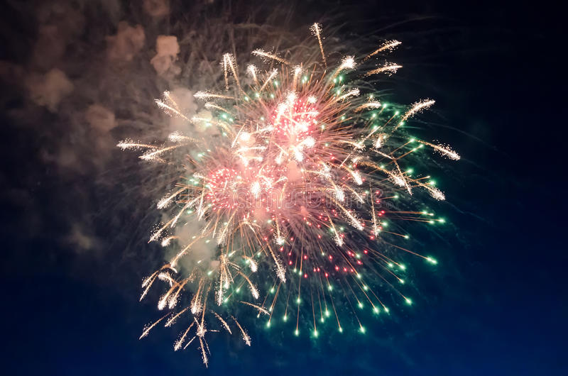 Fireworks. Beautiful fireworks close-up against dark sky stock photo