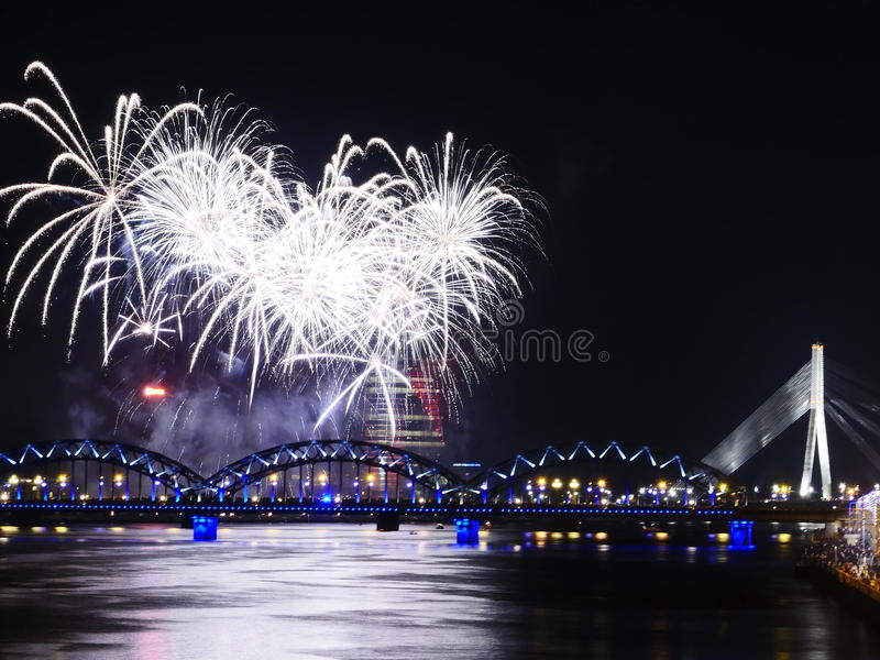 Fireworks in Big Eeuropean city Riga royalty free stock images