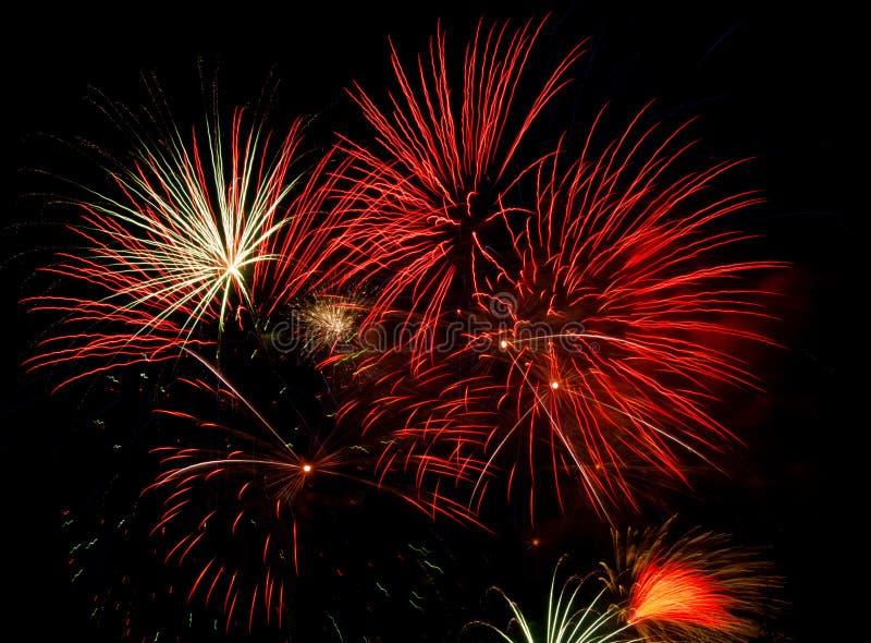 Fireworks on black stock images