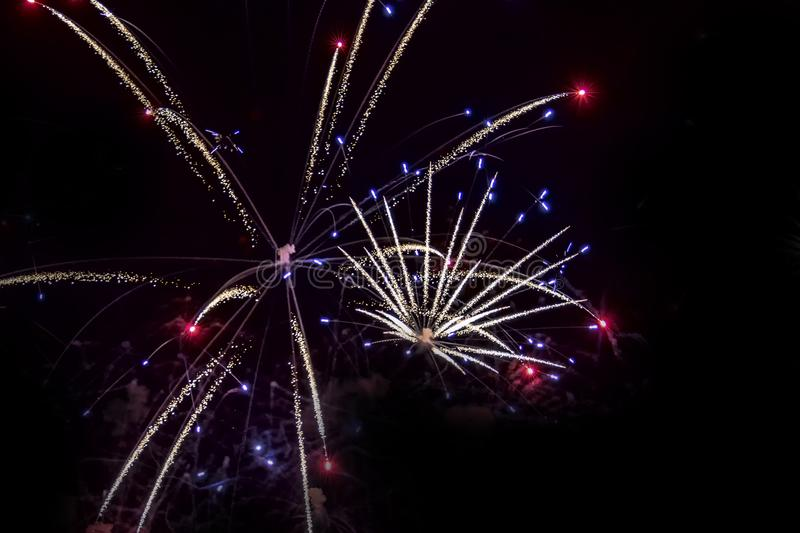 Fireworks on black background. For celebration design. Abstract bright firework display background. royalty free stock photo