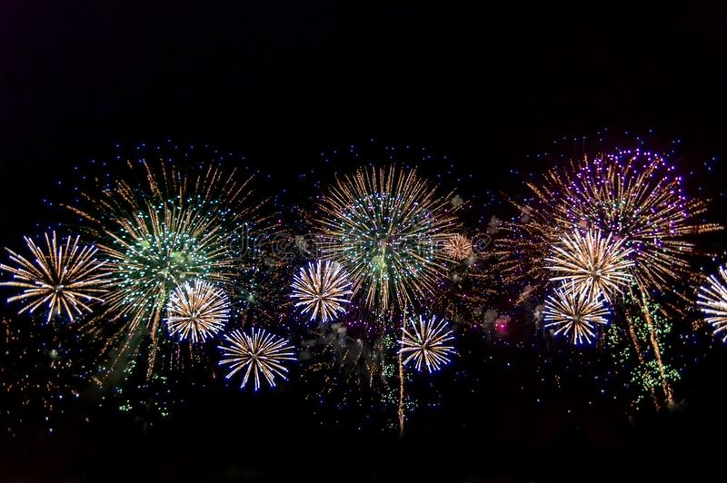 Fireworks on black background for celebration design. Abstract firework display background. royalty free stock photo