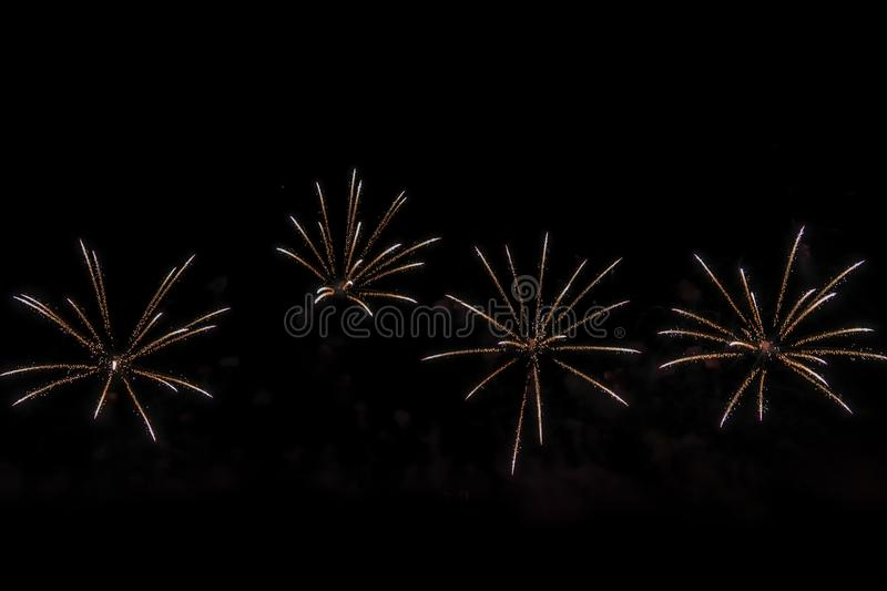 Fireworks on black background for cut out. For celebration design. Abstract firework display background. stock photos
