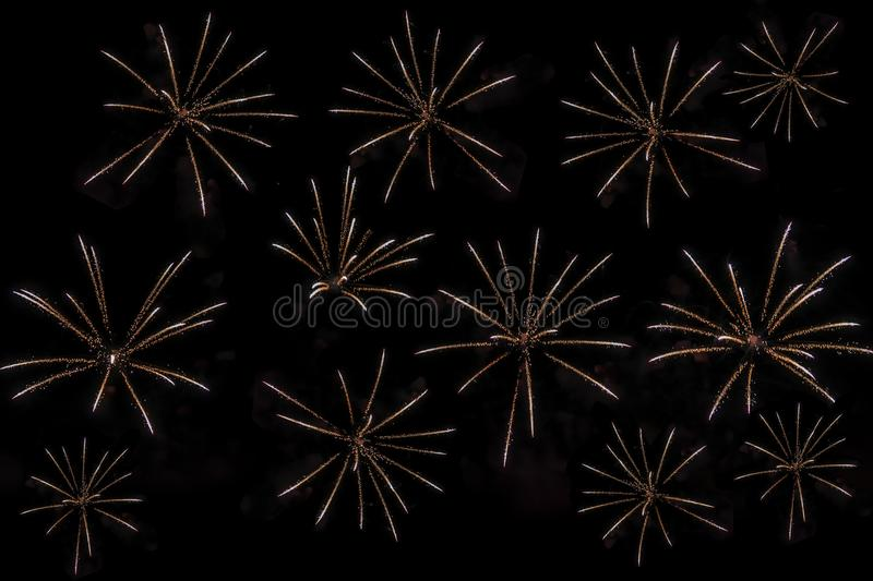 Fireworks on black background for cut out. For celebration design. Abstract firework display background. stock images
