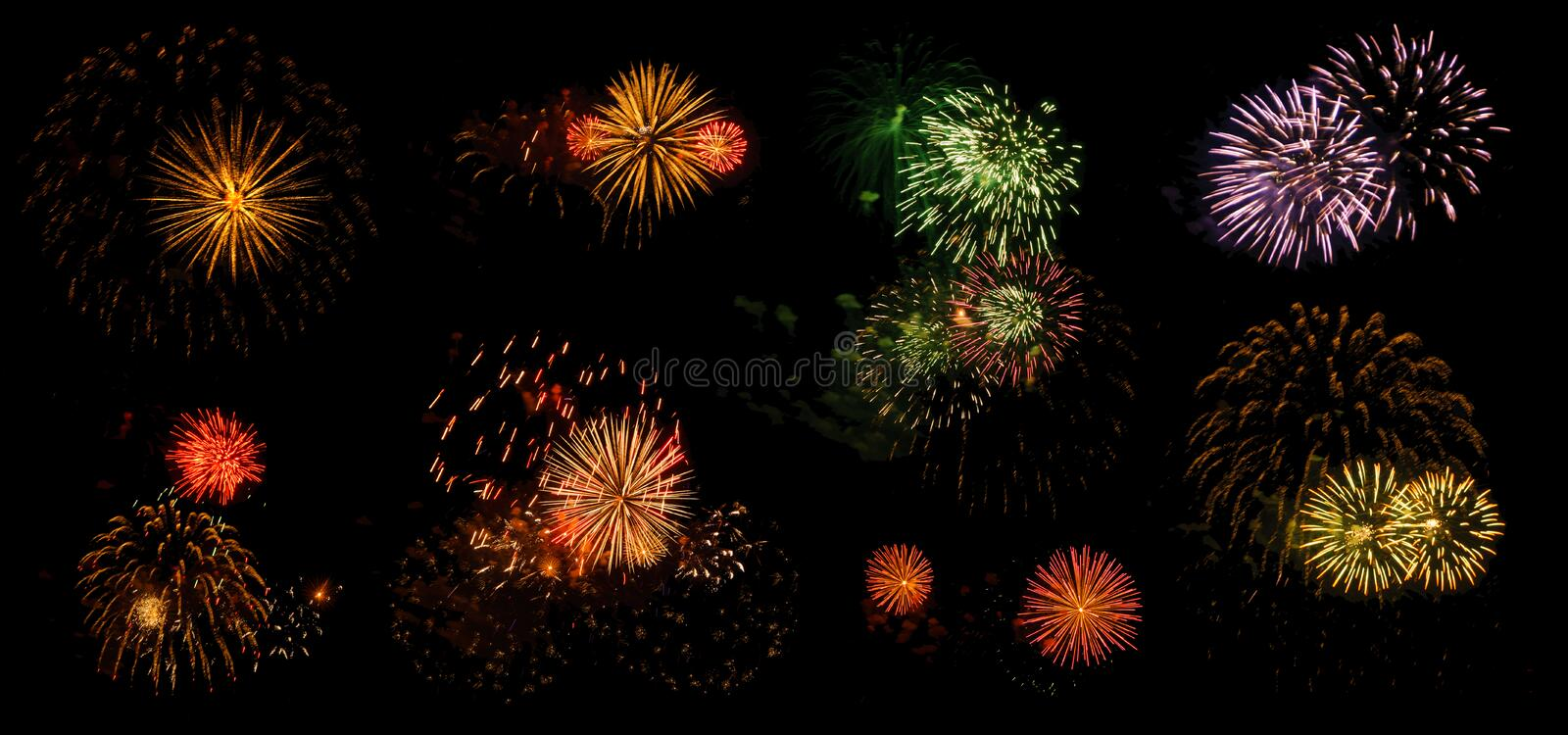 Fireworks on a black background isolated royalty free stock photo