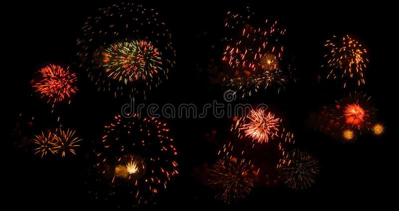 Fireworks on a black background isolated royalty free stock images