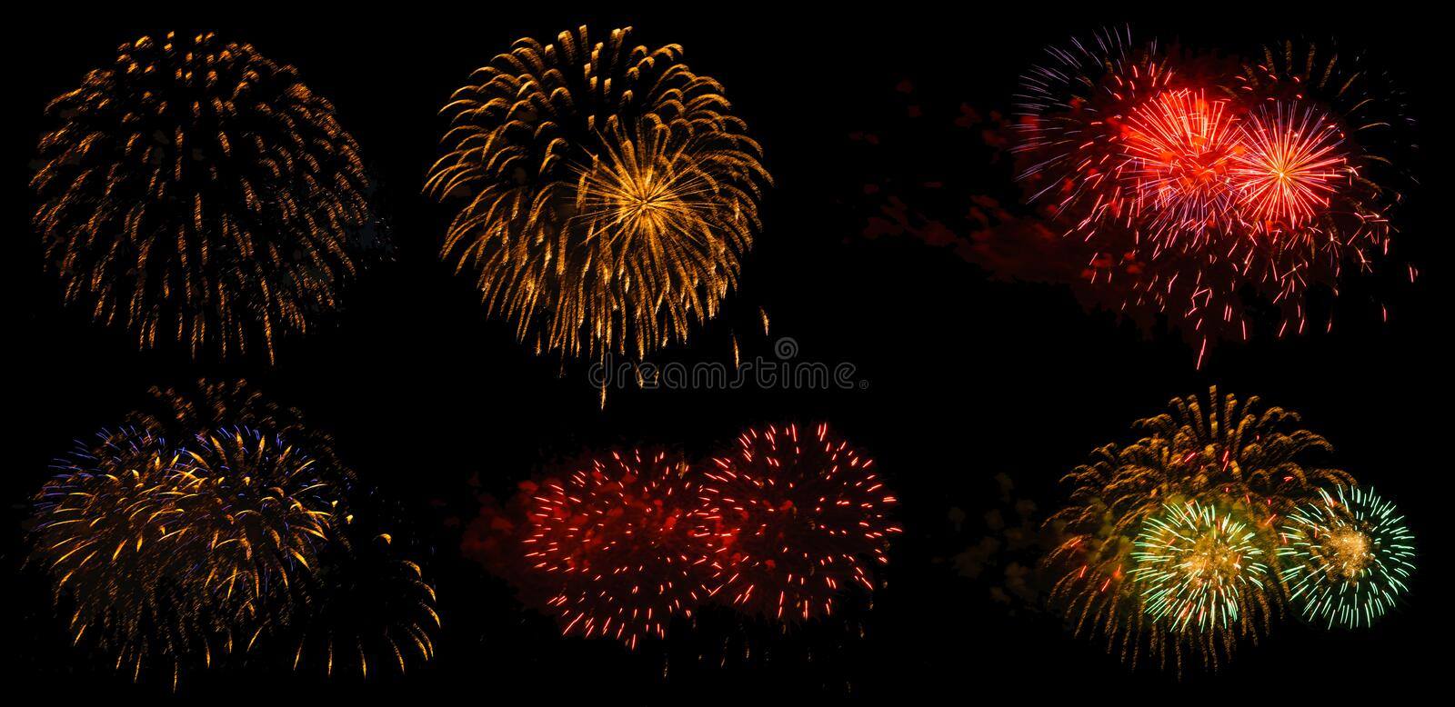 Fireworks on a black background isolated stock photo