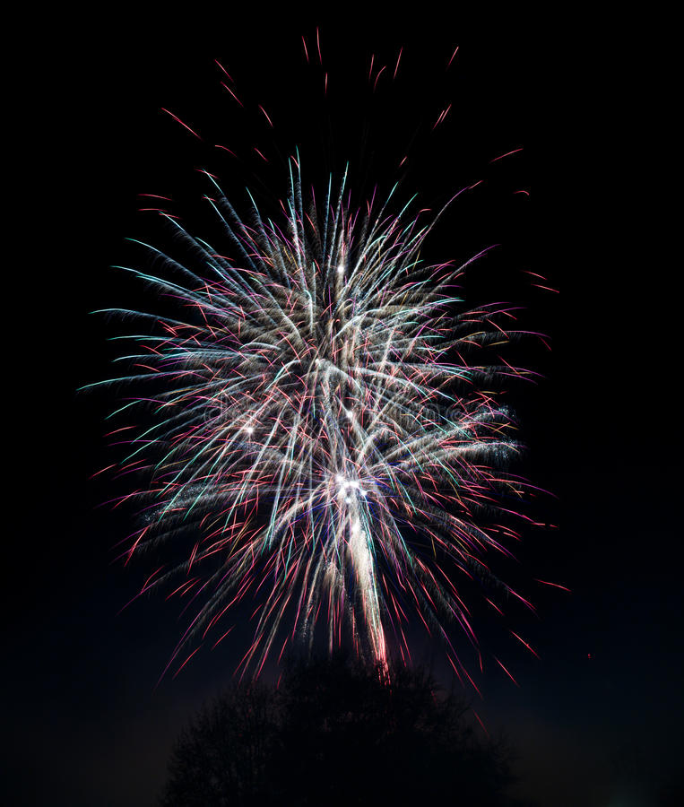 Download Fireworks Blasts On Black Sky Stock Image - Image of pyrotechnics, orange: 16851691