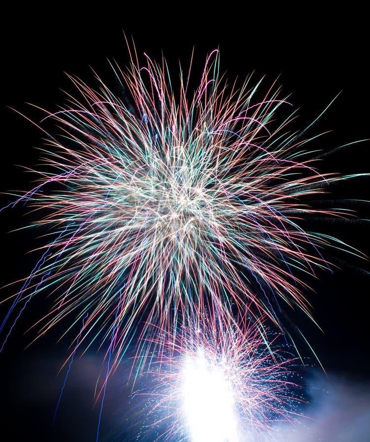 Download Fireworks Blasts On Black Sky Stock Image - Image: 16852063