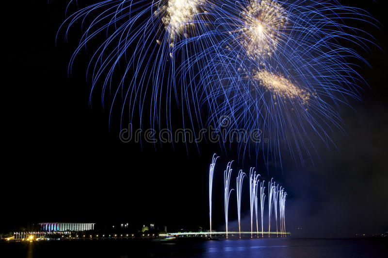 Fireworks in blue royalty free stock image