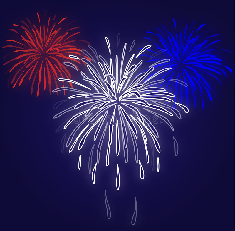 Fireworks Blue Background royalty free illustration