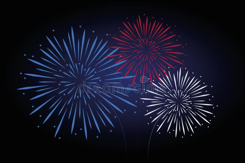 Fireworks blue red white colors vector illustration