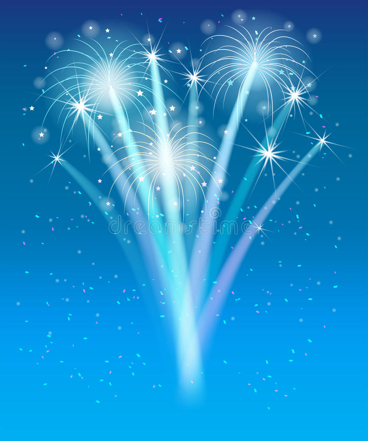 Fireworks in the blue sky. Holiday concept vector illustration
