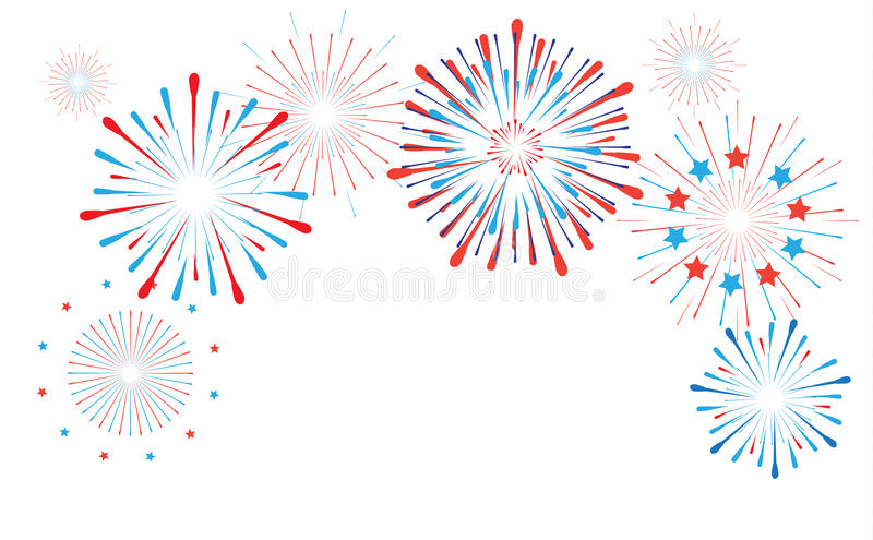 Fireworks. Bright Fireworks, American flag color. Star burst elements isolated on white background. For celebrate 4th of July Independence American Holiday