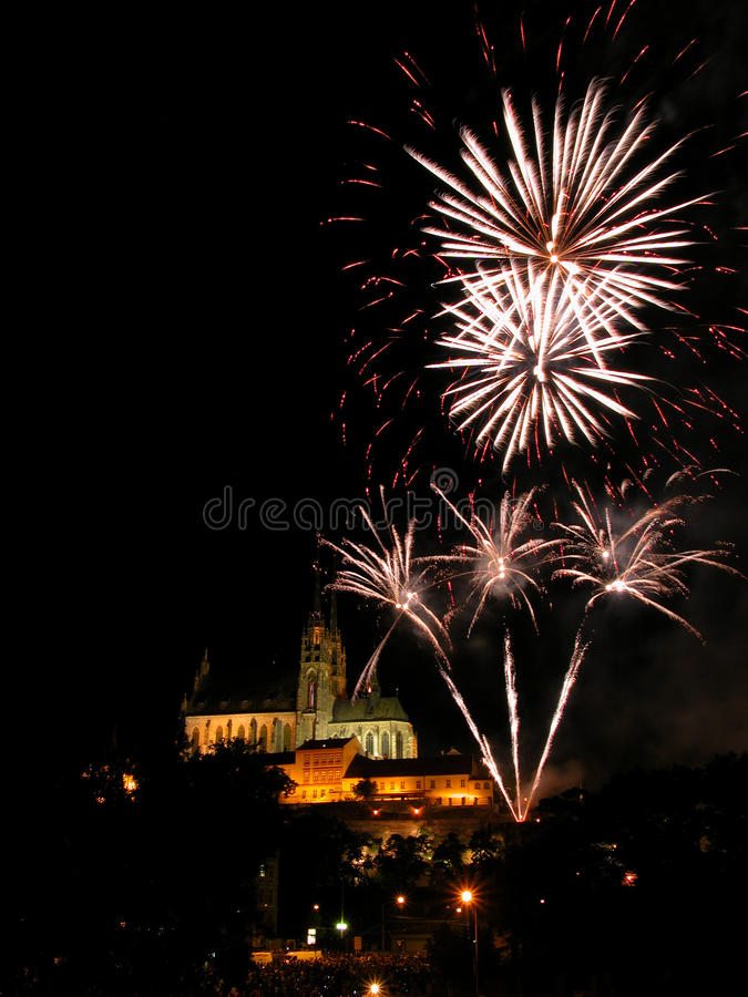 Fireworks in Brno. International fireworks competentions Ignis Brunensis in Brno, Czech Republic, 2009, Petrov cathedral, Theatrum Pyroboli stock image