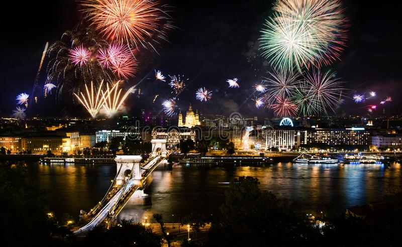 Fireworks in Budapest over the city and chain bridge royalty free stock photos